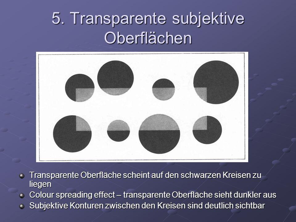 5. Transparente subjektive Oberflächen Transparente Oberfläche scheint auf den schwarzen Kreisen zu liegen Colour spreading effect – transparente Ober