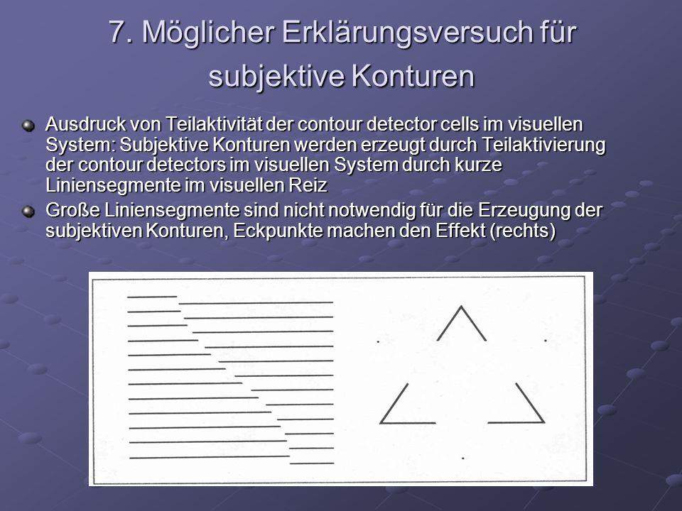 7. Möglicher Erklärungsversuch für subjektive Konturen Ausdruck von Teilaktivität der contour detector cells im visuellen System: Subjektive Konturen