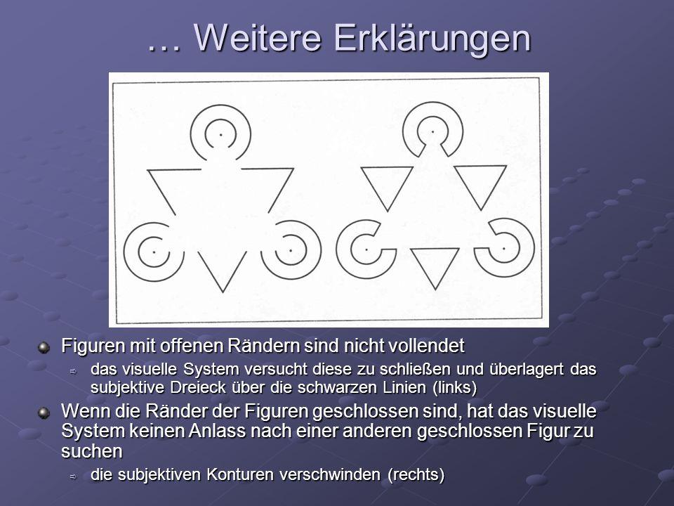 … Weitere Erklärungen Figuren mit offenen Rändern sind nicht vollendet das visuelle System versucht diese zu schließen und überlagert das subjektive D