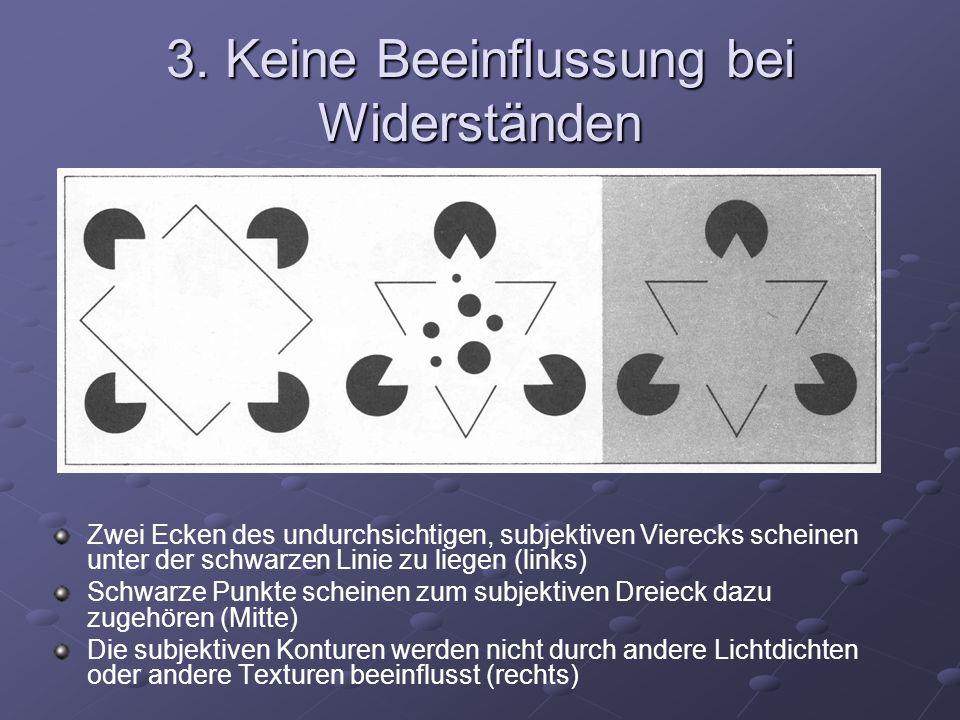 3. Keine Beeinflussung bei Widerständen Zwei Ecken des undurchsichtigen, subjektiven Vierecks scheinen unter der schwarzen Linie zu liegen (links) Sch