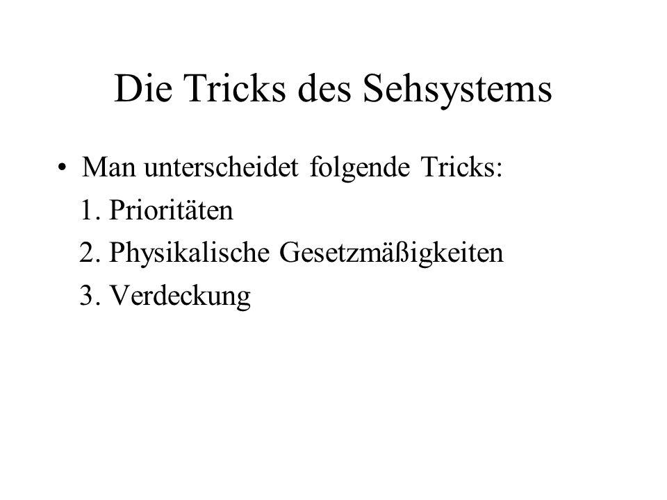 Die Tricks des Sehsystems Man unterscheidet folgende Tricks: 1. Prioritäten 2. Physikalische Gesetzmäßigkeiten 3. Verdeckung