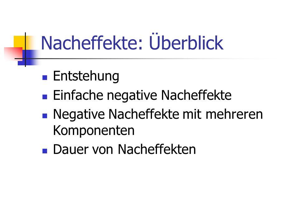 Nacheffekte: Überblick Entstehung Einfache negative Nacheffekte Negative Nacheffekte mit mehreren Komponenten Dauer von Nacheffekten