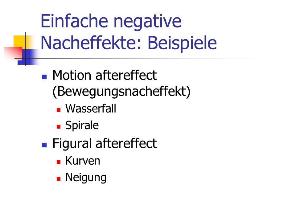 Einfache negative Nacheffekte: Beispiele Motion aftereffect (Bewegungsnacheffekt) Wasserfall Spirale Figural aftereffect Kurven Neigung