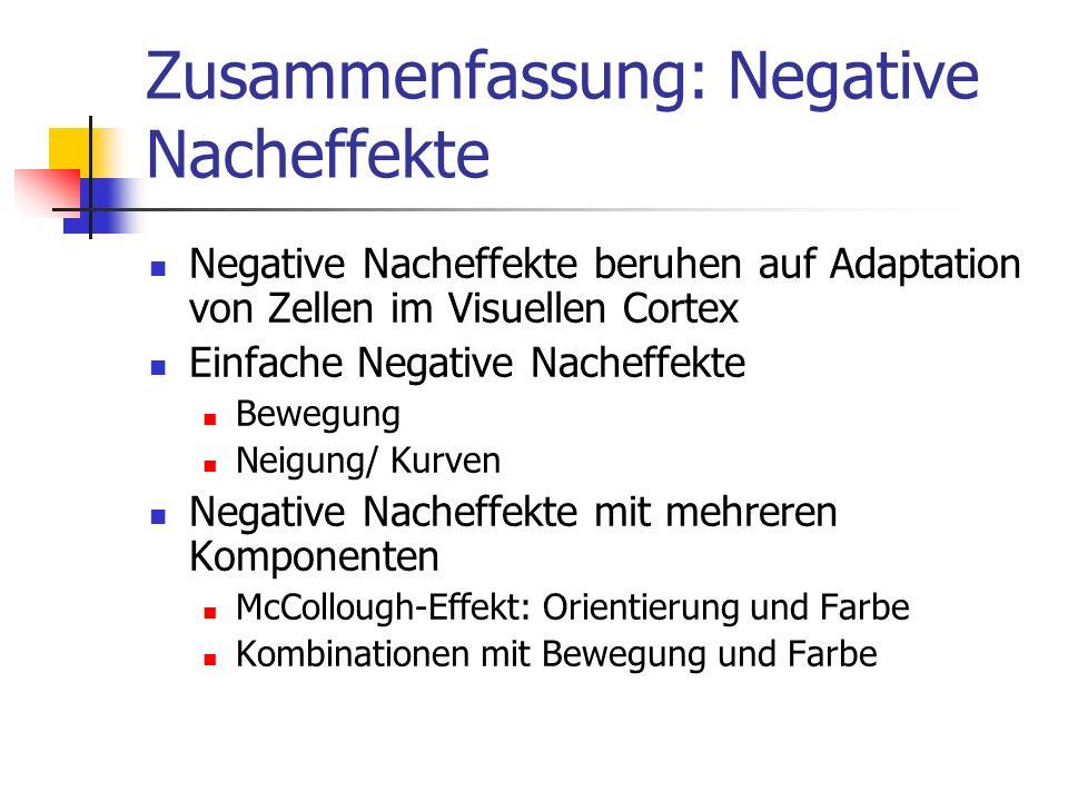 Zusammenfassung: Negative Nacheffekte Negative Nacheffekte beruhen auf Adaptation von Zellen im Visuellen Cortex Einfache Negative Nacheffekte Bewegun
