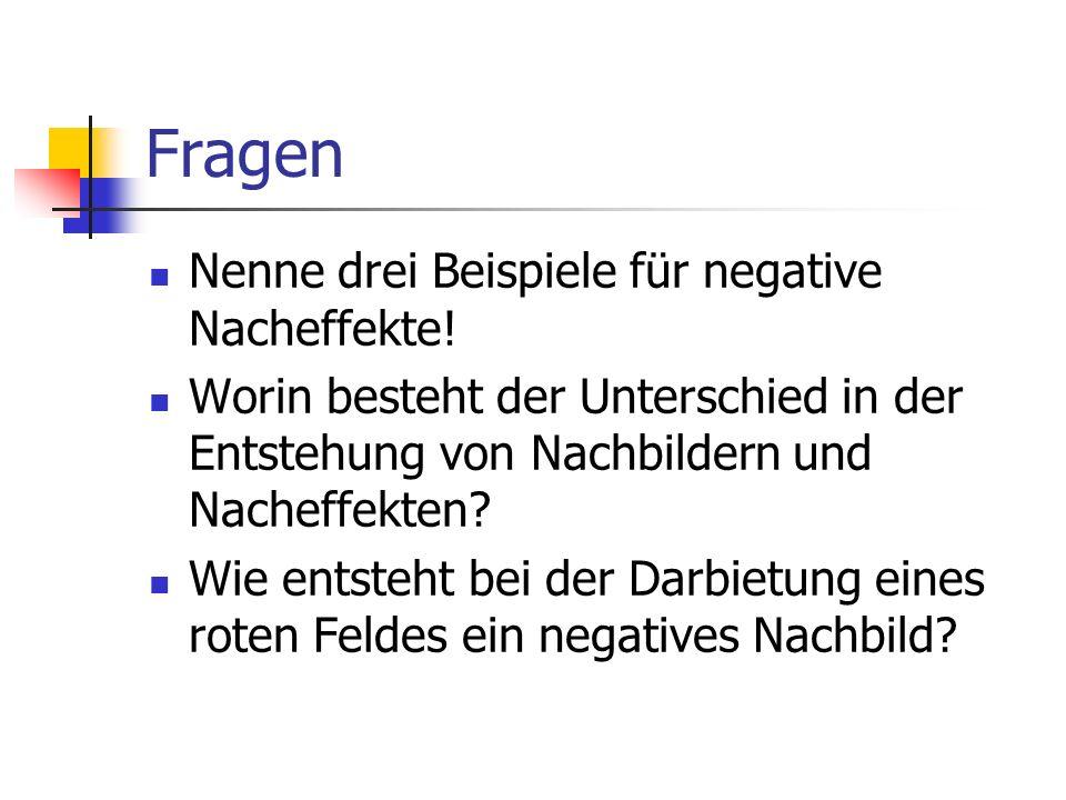 Fragen Nenne drei Beispiele für negative Nacheffekte! Worin besteht der Unterschied in der Entstehung von Nachbildern und Nacheffekten? Wie entsteht b