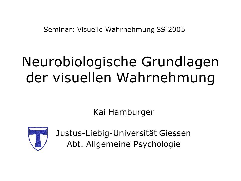 Neurobiologische Grundlagen der visuellen Wahrnehmung Kai Hamburger Justus-Liebig-Universität Giessen Abt. Allgemeine Psychologie Seminar: Visuelle Wa
