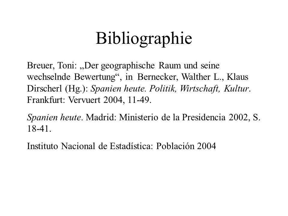 Bibliographie Breuer, Toni: Der geographische Raum und seine wechselnde Bewertung, in Bernecker, Walther L., Klaus Dirscherl (Hg.): Spanien heute. Pol