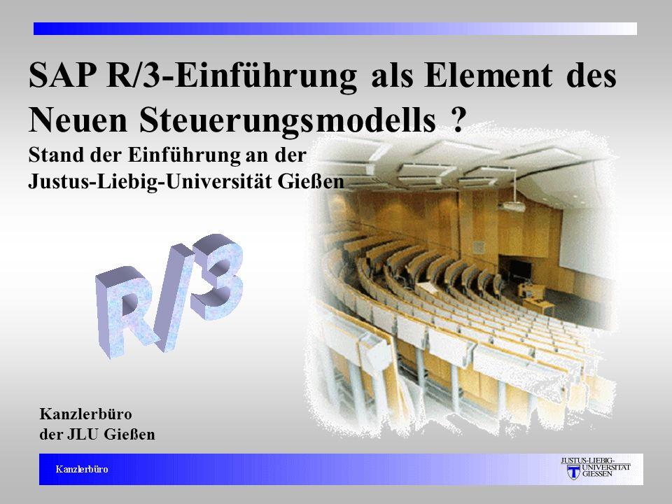1 Kanzlerbüro der JLU Gießen SAP R/3-Einführung als Element des Neuen Steuerungsmodells ? Stand der Einführung an der Justus-Liebig-Universität Gießen