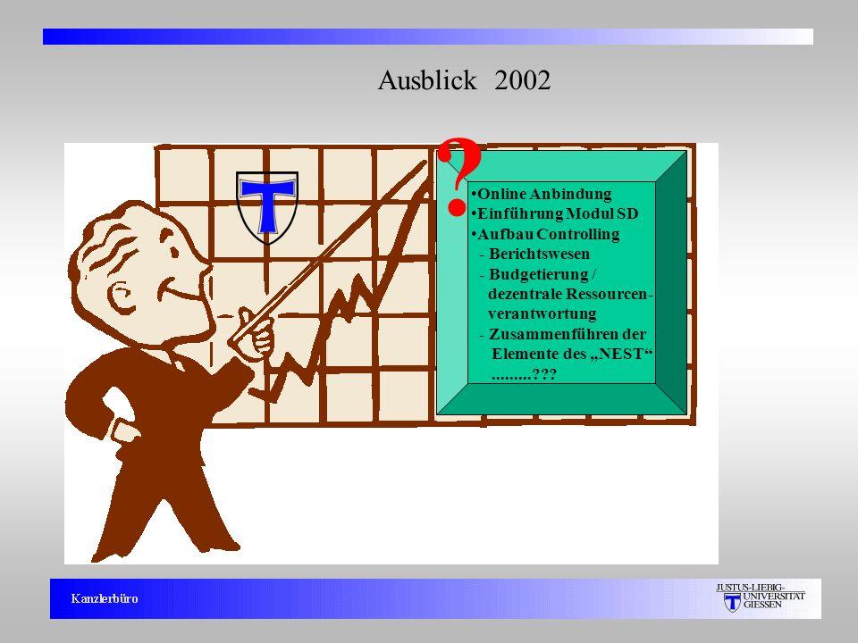 5 Ausblick 2002 ? Online Anbindung Einführung Modul SD Aufbau Controlling - Berichtswesen - Budgetierung / dezentrale Ressourcen- verantwortung - Zusa