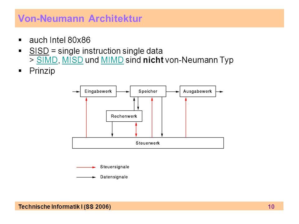 Technische Informatik I (SS 2006) 10 auch Intel 80x86 SISD = single instruction single data > SIMD, MISD und MIMD sind nicht von-Neumann TypSIMDMISDMI