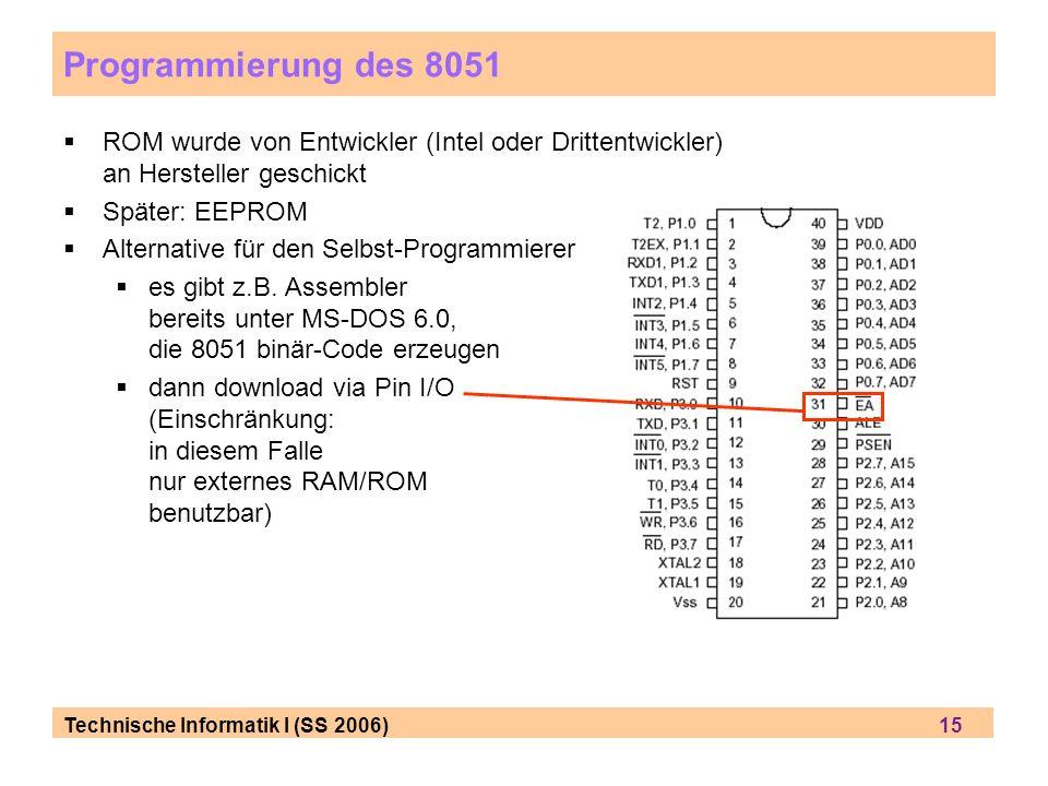 Technische Informatik I (SS 2006) 15 Programmierung des 8051 ROM wurde von Entwickler (Intel oder Drittentwickler) an Hersteller geschickt Später: EEP