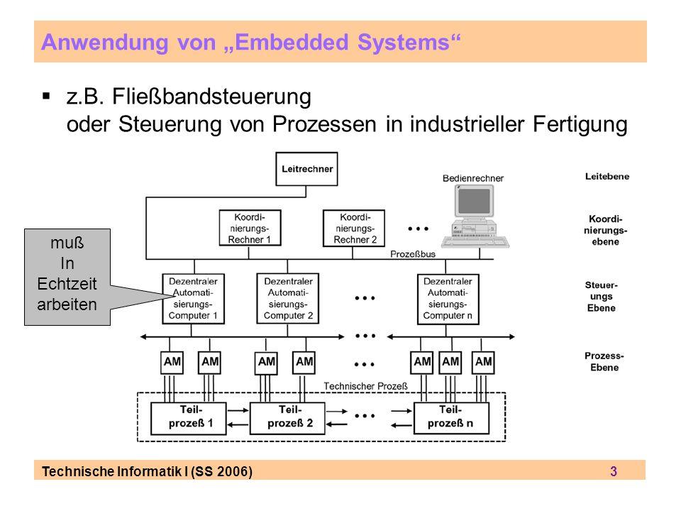 Technische Informatik I (SS 2006) 3 Anwendung von Embedded Systems z.B. Fließbandsteuerung oder Steuerung von Prozessen in industrieller Fertigung muß