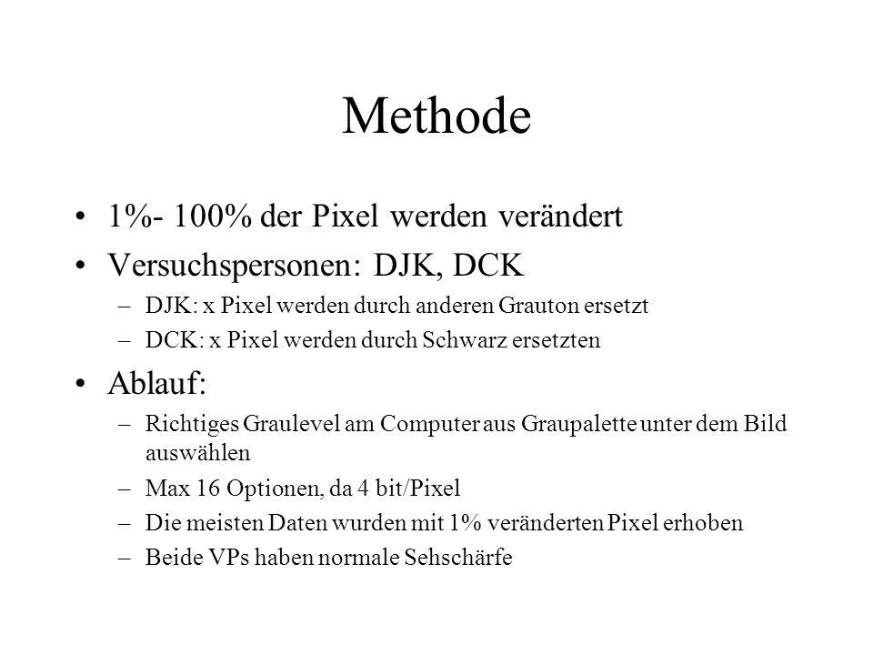 Methode 1%- 100% der Pixel werden verändert Versuchspersonen: DJK, DCK –DJK: x Pixel werden durch anderen Grauton ersetzt –DCK: x Pixel werden durch Schwarz ersetzten Ablauf: –Richtiges Graulevel am Computer aus Graupalette unter dem Bild auswählen –Max 16 Optionen, da 4 bit/Pixel –Die meisten Daten wurden mit 1% veränderten Pixel erhoben –Beide VPs haben normale Sehschärfe