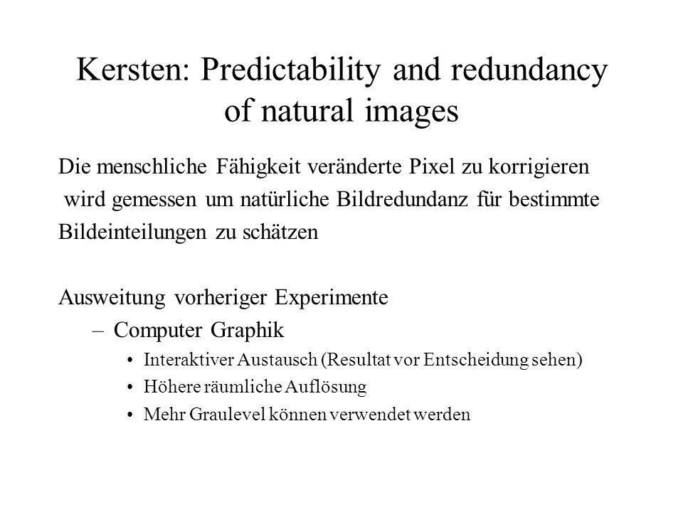 Kersten: Predictability and redundancy of natural images Die menschliche Fähigkeit veränderte Pixel zu korrigieren wird gemessen um natürliche Bildredundanz für bestimmte Bildeinteilungen zu schätzen Ausweitung vorheriger Experimente –Computer Graphik Interaktiver Austausch (Resultat vor Entscheidung sehen) Höhere räumliche Auflösung Mehr Graulevel können verwendet werden