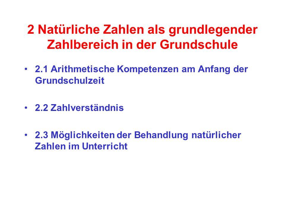 2 Natürliche Zahlen als grundlegender Zahlbereich in der Grundschule 2.1 Arithmetische Kompetenzen am Anfang der Grundschulzeit 2.2 Zahlverständnis 2.