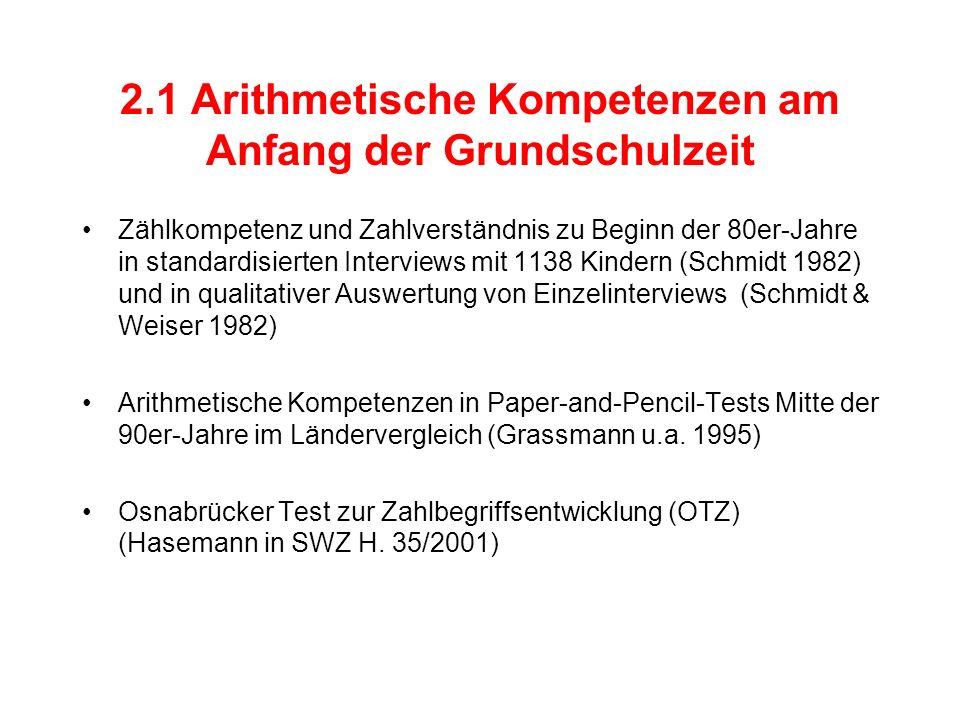 2.1 Arithmetische Kompetenzen am Anfang der Grundschulzeit Zählkompetenz und Zahlverständnis zu Beginn der 80er-Jahre in standardisierten Interviews mit 1138 Kindern (Schmidt 1982) und in qualitativer Auswertung von Einzelinterviews (Schmidt & Weiser 1982) Arithmetische Kompetenzen in Paper-and-Pencil-Tests Mitte der 90er-Jahre im Ländervergleich (Grassmann u.a.