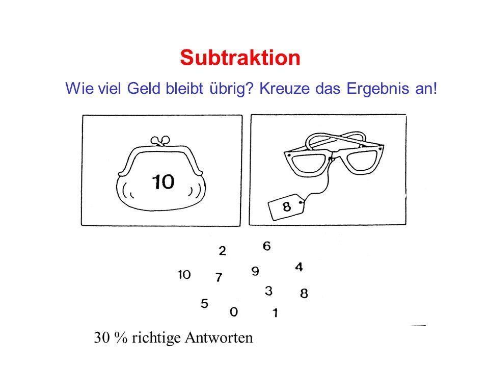 Subtraktion Wie viel Geld bleibt übrig? Kreuze das Ergebnis an! 30 % richtige Antworten