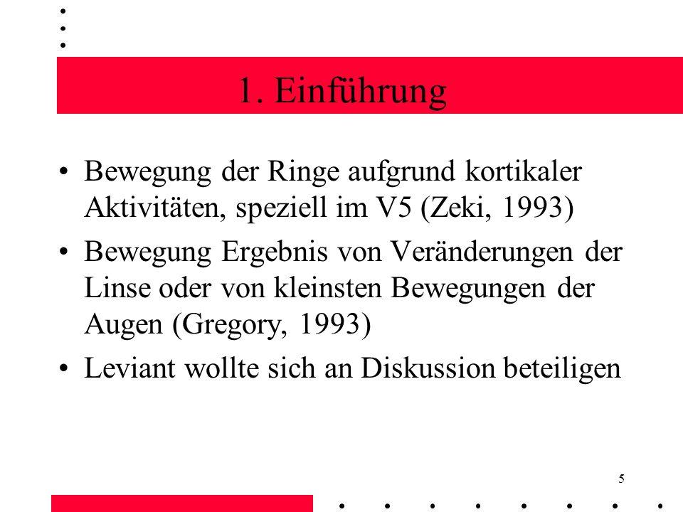 5 Bewegung der Ringe aufgrund kortikaler Aktivitäten, speziell im V5 (Zeki, 1993) Bewegung Ergebnis von Veränderungen der Linse oder von kleinsten Bew
