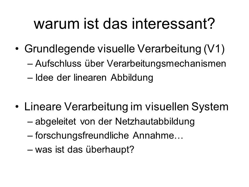 warum ist das interessant? Grundlegende visuelle Verarbeitung (V1) –Aufschluss über Verarbeitungsmechanismen –Idee der linearen Abbildung Lineare Vera