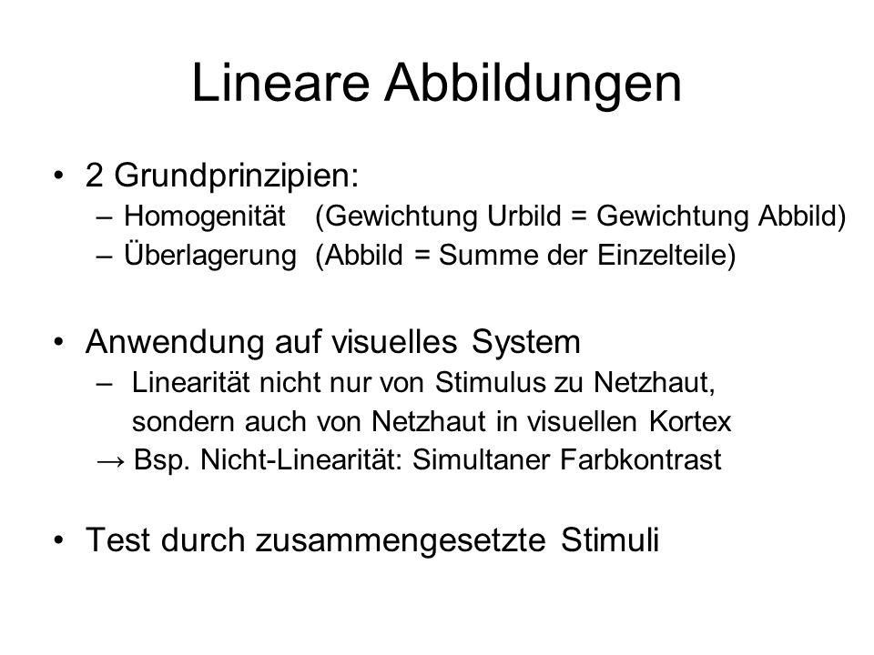 Lineare Abbildungen 2 Grundprinzipien: –Homogenität (Gewichtung Urbild = Gewichtung Abbild) –Überlagerung (Abbild = Summe der Einzelteile) Anwendung a