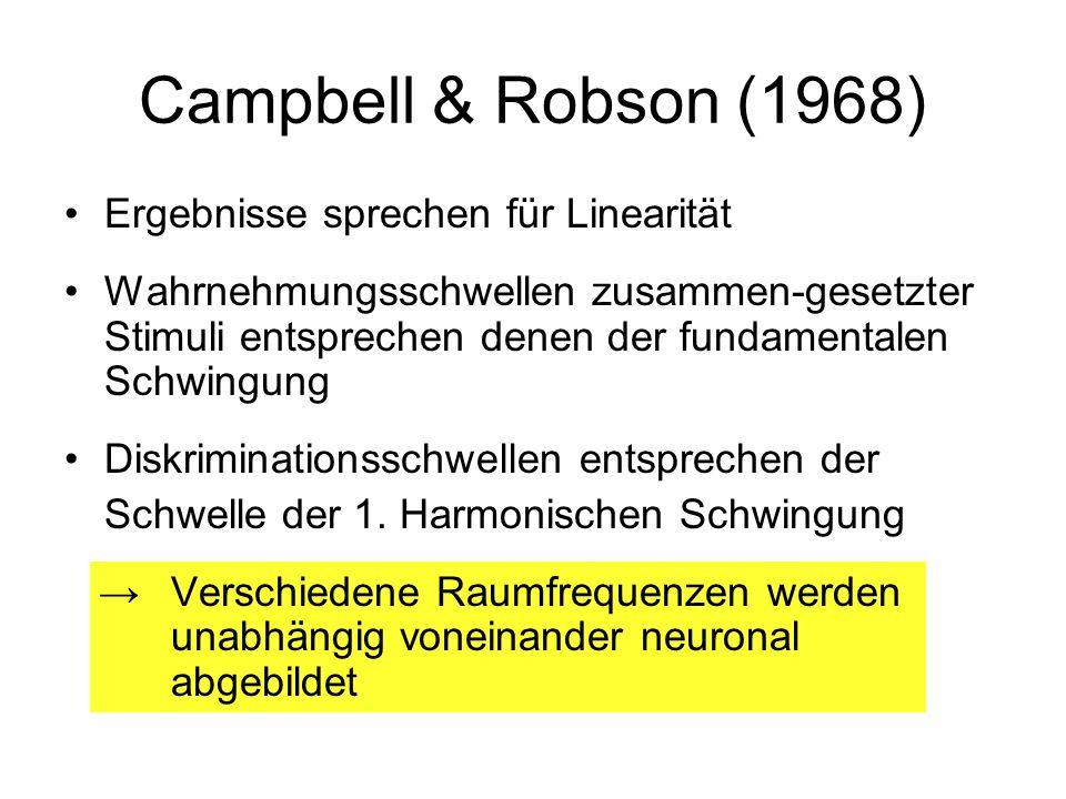 Campbell & Robson (1968) Ergebnisse sprechen für Linearität Wahrnehmungsschwellen zusammen-gesetzter Stimuli entsprechen denen der fundamentalen Schwi