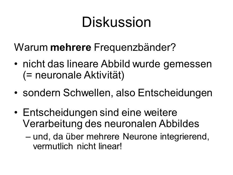 Diskussion Warum mehrere Frequenzbänder? nicht das lineare Abbild wurde gemessen (= neuronale Aktivität) sondern Schwellen, also Entscheidungen Entsch
