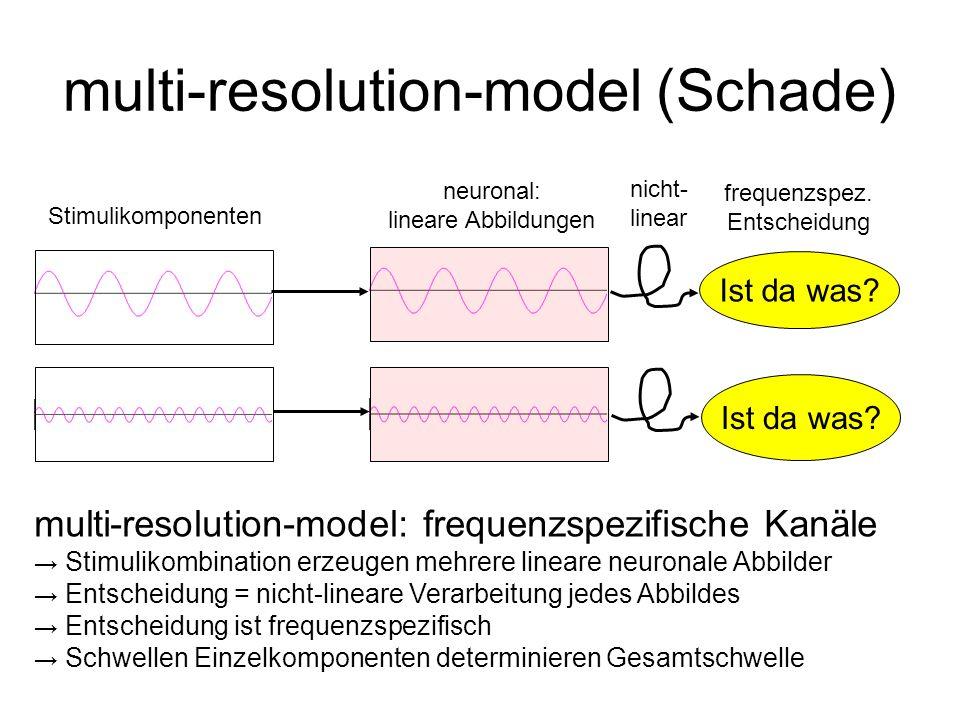 multi-resolution-model (Schade) Ist da was? Stimulikomponenten neuronal: lineare Abbildungen nicht- linear frequenzspez. Entscheidung multi-resolution