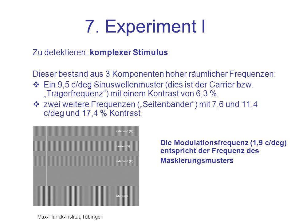 7. Experiment I Zu detektieren: komplexer Stimulus Dieser bestand aus 3 Komponenten hoher räumlicher Frequenzen: Ein 9,5 c/deg Sinuswellenmuster (dies