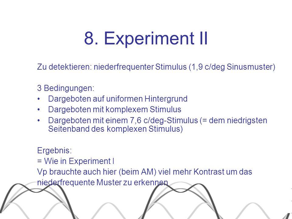 8. Experiment II Zu detektieren: niederfrequenter Stimulus (1,9 c/deg Sinusmuster) 3 Bedingungen: Dargeboten auf uniformen Hintergrund Dargeboten mit