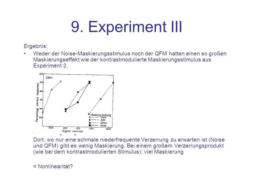 9. Experiment III Ergebnis: Weder der Noise-Maskierungsstimulus noch der QFM hatten einen so großen Maskierungseffekt wie der kontrastmodulierte Maski