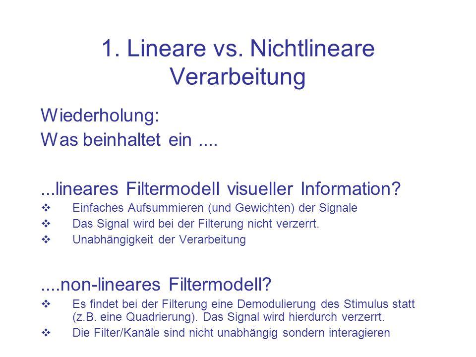 1. Lineare vs. Nichtlineare Verarbeitung Wiederholung: Was beinhaltet ein.......lineares Filtermodell visueller Information? Einfaches Aufsummieren (u