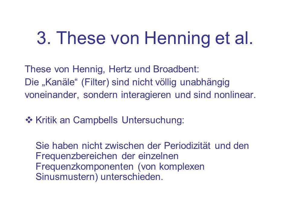 3. These von Henning et al. These von Hennig, Hertz und Broadbent: Die Kanäle (Filter) sind nicht völlig unabhängig voneinander, sondern interagieren