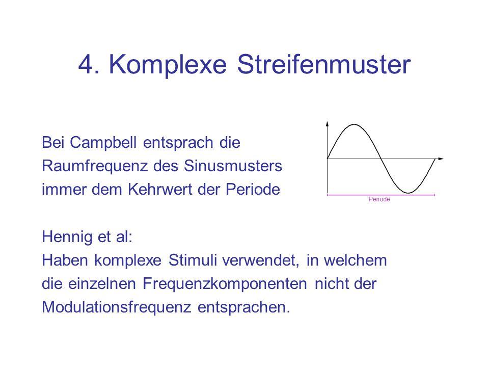 4. Komplexe Streifenmuster Bei Campbell entsprach die Raumfrequenz des Sinusmusters immer dem Kehrwert der Periode Hennig et al: Haben komplexe Stimul