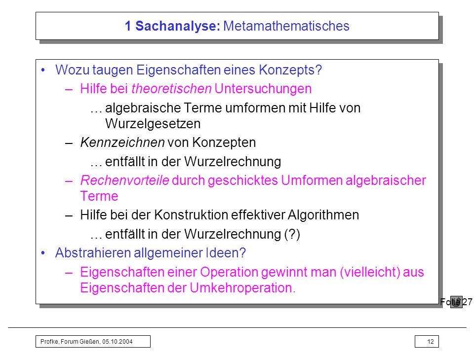 Profke, Forum Gießen, 05.10.200412 1 Sachanalyse: Metamathematisches Wozu taugen Eigenschaften eines Konzepts? –Hilfe bei theoretischen Untersuchungen