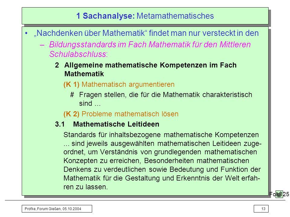 Profke, Forum Gießen, 05.10.200413 1 Sachanalyse: Metamathematisches Nachdenken über Mathematik findet man nur versteckt in den –Bildungsstandards im