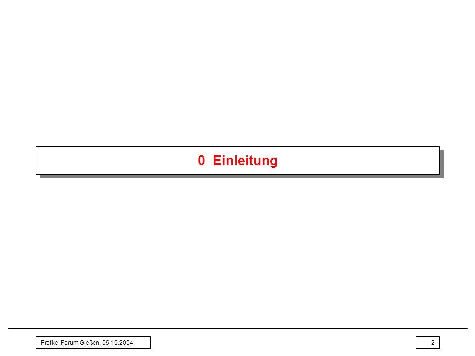 Profke, Forum Gießen, 05.10.20043 0 Einleitung Aufgabe des Referats Erörtern der folgenden Fragen am Beispiel Wurzelgesetze: –Welche Qualifikationen (Kompetenzen) braucht ein Lehrer, …um allgemeinbildenden Mathematikunterricht zu erteilen …und um die Forderungen der Bildungsstandards Mathematik zu erfüllen.