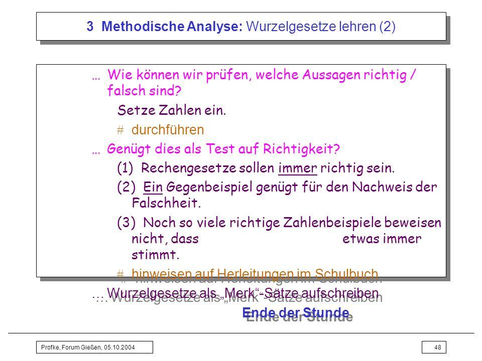 Profke, Forum Gießen, 05.10.200448 3 Methodische Analyse: Wurzelgesetze lehren (2) …Wie können wir prüfen, welche Aussagen richtig / falsch sind? Setz