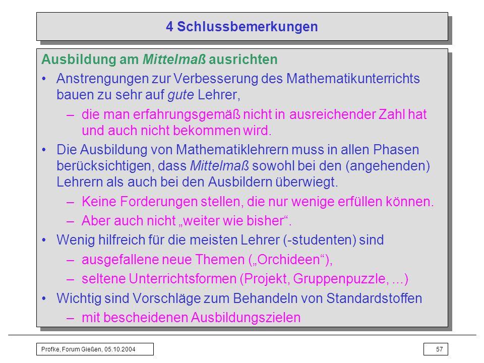 Profke, Forum Gießen, 05.10.200457 4 Schlussbemerkungen Ausbildung am Mittelmaß ausrichten Anstrengungen zur Verbesserung des Mathematikunterrichts ba