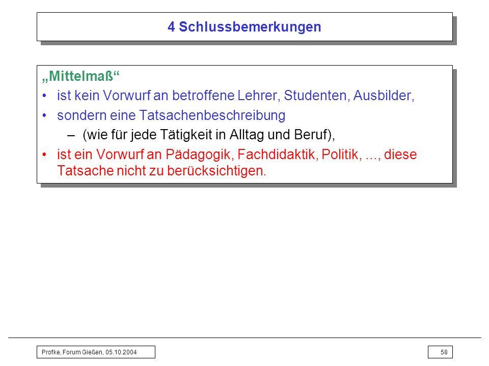 Profke, Forum Gießen, 05.10.200458 4 Schlussbemerkungen Mittelmaß ist kein Vorwurf an betroffene Lehrer, Studenten, Ausbilder, sondern eine Tatsachenb