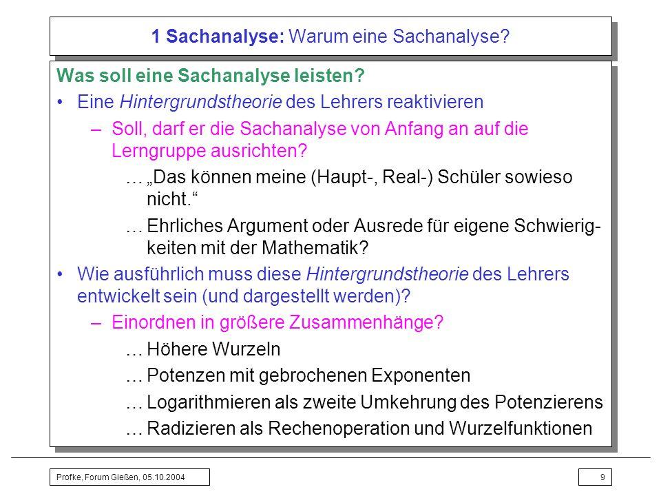 Profke, Forum Gießen, 05.10.200430 2 Didaktische Analyse: Didaktische Prinzipien Einstieg und Motivation –Überlegungen und Entscheidungen stützen durch pädagogisch-psychologische Theorien …Leitendes Problem suchen Was macht man mit Wurzelgesetzen.