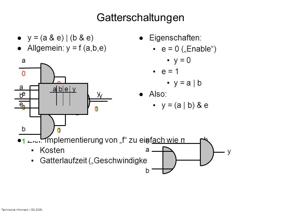 Technische Informatik I (SS 2006) Gatterschaltungen y = (a & e) | (b & e) Allgemein: y = f (a,b,e) Ziel: Implementierung von f zu einfach wie möglich