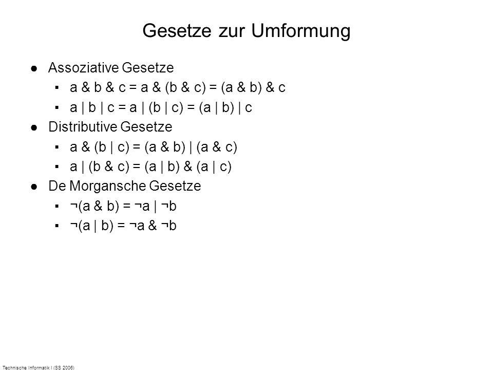 Technische Informatik I (SS 2006) Gesetze zur Umformung Assoziative Gesetze a & b & c = a & (b & c) = (a & b) & c a | b | c = a | (b | c) = (a | b) |