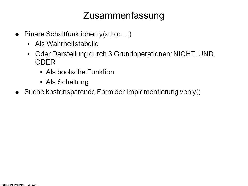 Technische Informatik I (SS 2006) Zusammenfassung Binäre Schaltfunktionen y(a,b,c….) Als Wahrheitstabelle Oder Darstellung durch 3 Grundoperationen: N