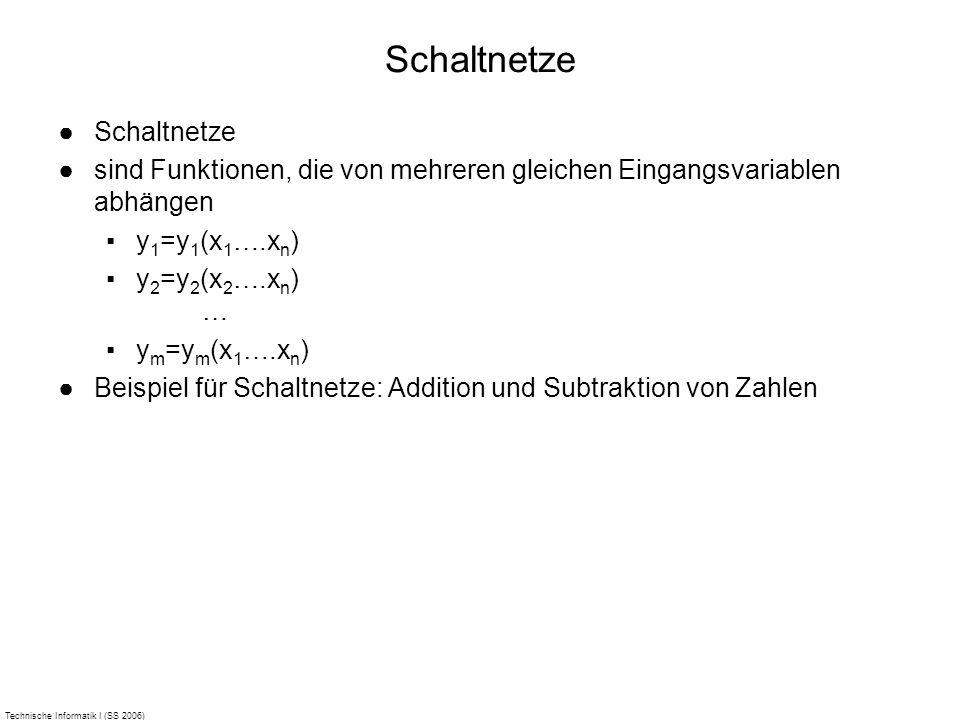 Technische Informatik I (SS 2006) Schaltnetze sind Funktionen, die von mehreren gleichen Eingangsvariablen abhängen y 1 =y 1 (x 1 ….x n ) y 2 =y 2 (x