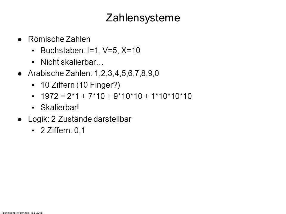 Technische Informatik I (SS 2006) Zahlensysteme Römische Zahlen Buchstaben: I=1, V=5, X=10 Nicht skalierbar… Arabische Zahlen: 1,2,3,4,5,6,7,8,9,0 10