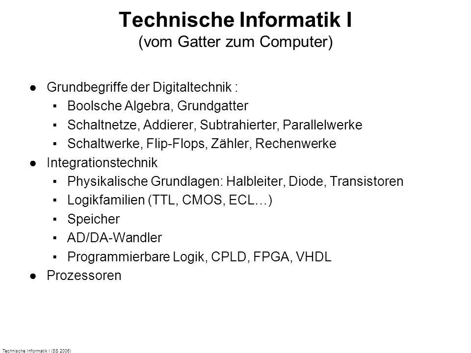 Technische Informatik I (SS 2006) Technische Informatik I (vom Gatter zum Computer) Grundbegriffe der Digitaltechnik : Boolsche Algebra, Grundgatter S