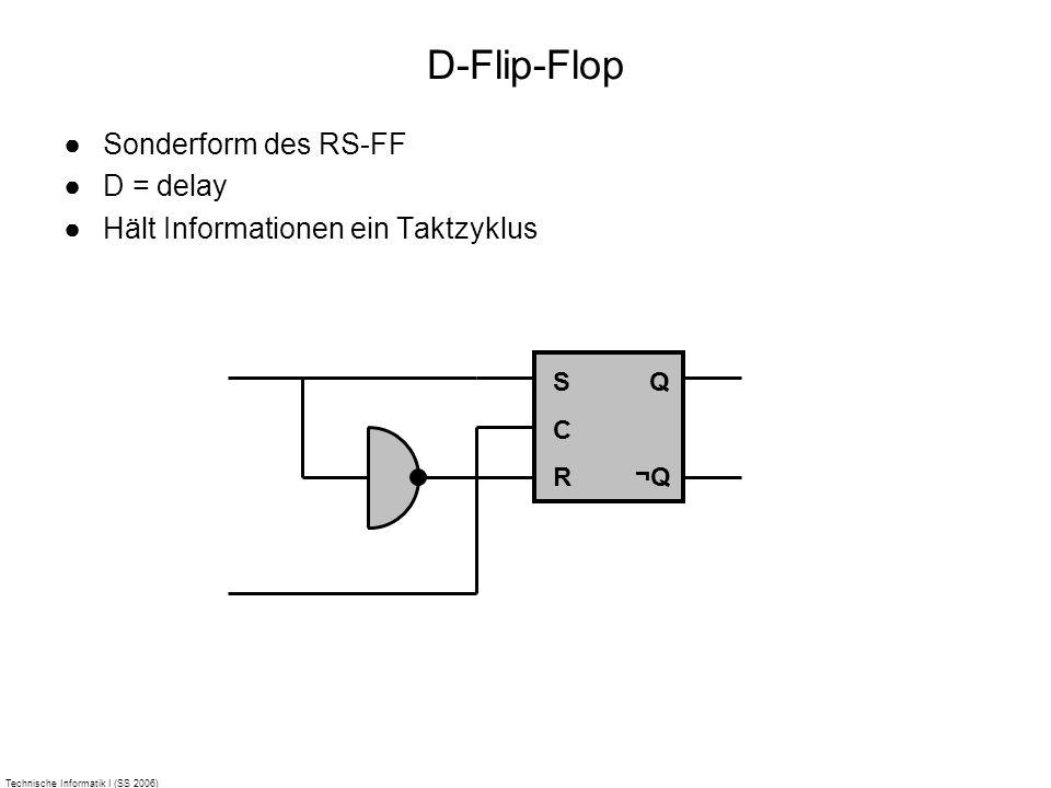 Technische Informatik I (SS 2006) D-Flip-Flop Sonderform des RS-FF D = delay Hält Informationen ein Taktzyklus SCRSCR Q ¬Q