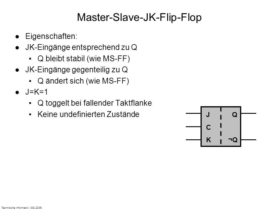 Technische Informatik I (SS 2006) Master-Slave-JK-Flip-Flop Eigenschaften: JK-Eingänge entsprechend zu Q Q bleibt stabil (wie MS-FF) JK-Eingänge gegen
