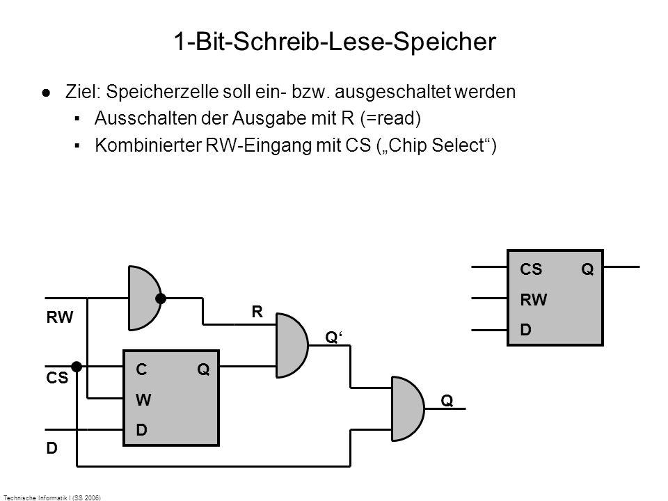 Technische Informatik I (SS 2006) 1-Bit-Schreib-Lese-Speicher Ziel: Speicherzelle soll ein- bzw. ausgeschaltet werden Ausschalten der Ausgabe mit R (=
