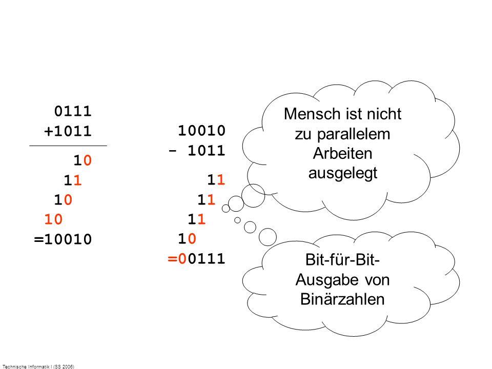 Technische Informatik I (SS 2006) 0111 +1011 10 11 10 10 =10010 Mensch ist nicht zu parallelem Arbeiten ausgelegt Bit-für-Bit- Ausgabe von Binärzahlen